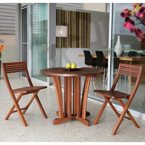 Jensen Leisure Gateleg Bistro Table and Pearl Folding Chairs Set