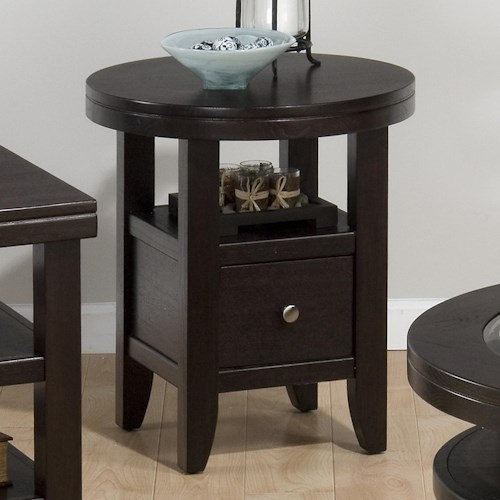 Jofran Marlon Wenge Round End Table with Drawer and Shelf