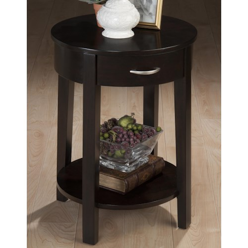 Jofran Dark Merlot Contemporary Round Chairside Table with Drawer and Shelf