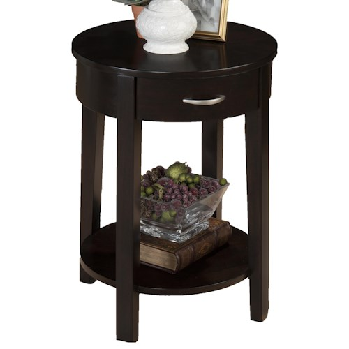 Morris Home Furnishings Dark Merlot Contemporary Round Chairside Table with Drawer and Shelf