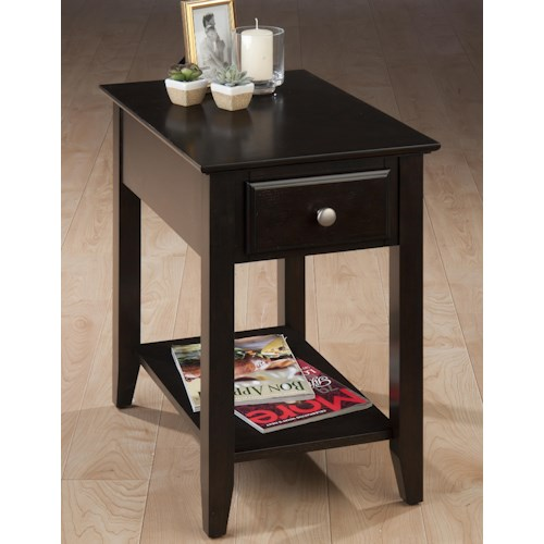 Morris Home Furnishings Kesling Casual Espresso Chairside End Table with Drawer & Shelf