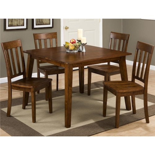Morris Home Furnishings Tahoe Square Table and 4 Chair Set (with Slat Back Chairs)