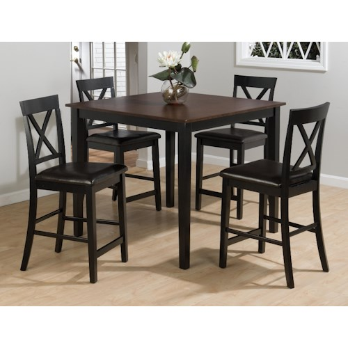 Jofran Burley Brown and Black 5-Piece Casual Pub Table & Counter Height Chair Set
