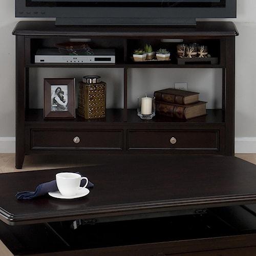 Jofran Corranado Espresso Casual Espresso Sofa Media Unit with 2 Drawers & 2 Shelves