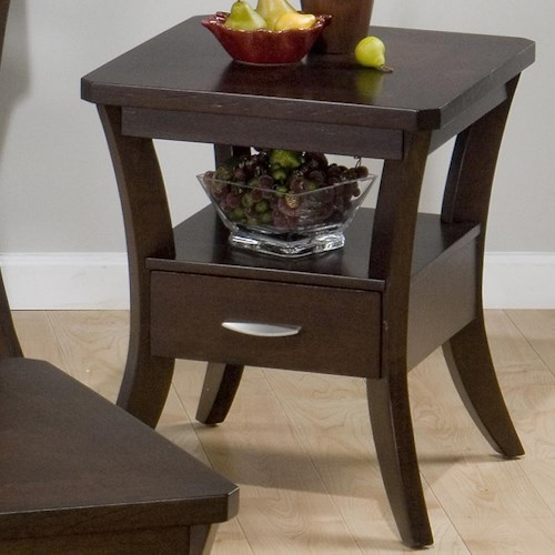 Jofran Joe's Espresso End Table w/ Shelf, Drawer, and Wood Veneer