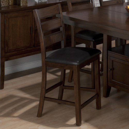 Jofran Taylor Brown Cherry Triple Slat Counter Height Stool with Faux Leather Seat