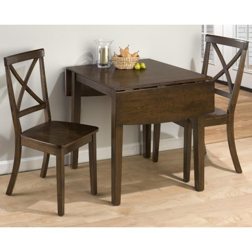 Jofran Taylor Cherry 3-Piece Drop Leaf Kitchen Table & Side Chair Set
