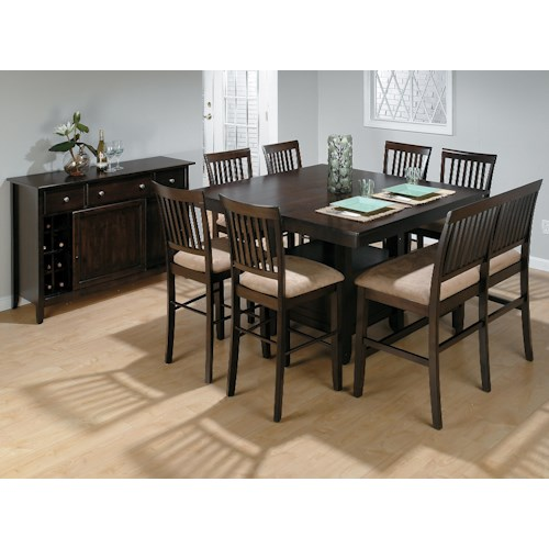 Jofran Bakery's Cherry Counter Height Table, Upholstered Bench, and (6) Stools Set