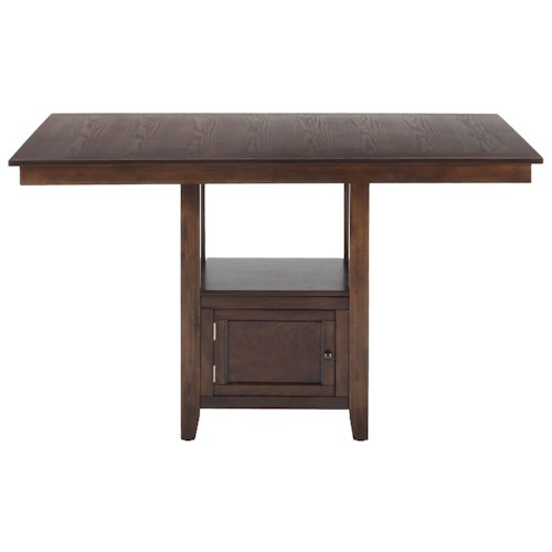 Jofran Olsen Oak Casual Counter Height Rectangle Table with Storage Pedestal Base