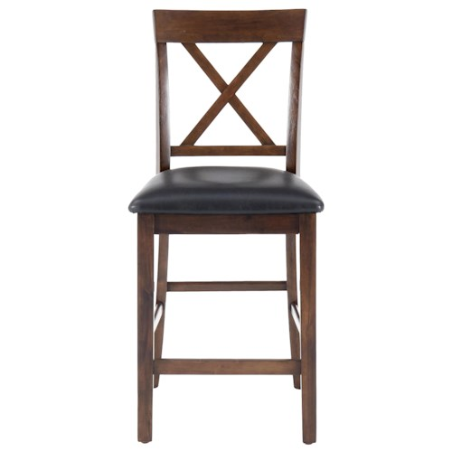 Jofran Olsen Oak Casual X-Back Stool with Faux Leather Seat Cushion
