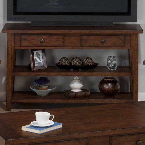 Jofran Clay County Oak Sofa/Media Table with 2 Drawers