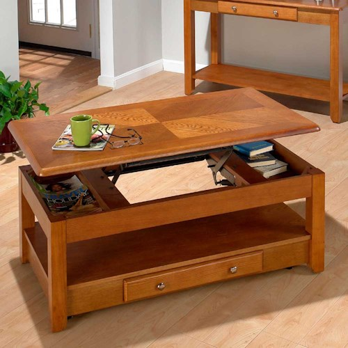 Jofran Oak  Lift-Top Cocktail Table / Coffee Table with Two Drawers and Casters