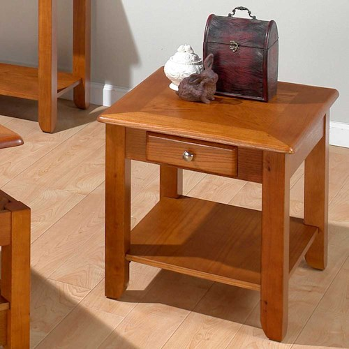 Jofran Oak  End Table with a Drawer and a Shelf