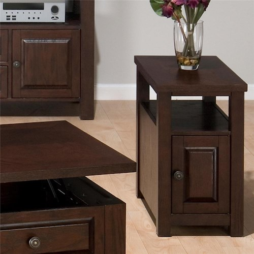 Jofran Ogden Oak Finish End Table with Door & Shelf