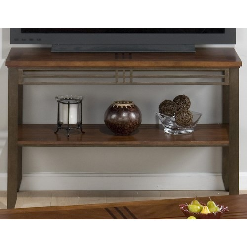 Jofran Barrington Cherry Sofa Table/Media Unit with Inlay Wood Top & Metal Apron and Legs
