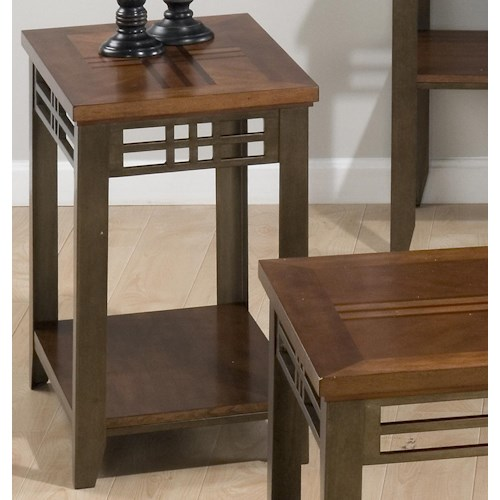 Jofran Barrington Cherry Chairside End Table with Shelf, Wood Top, & Metal Apron and Legs