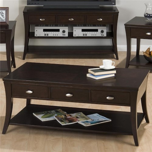 Jofran Manhattan Espresso Cocktail Table with Three Drawers and One Shelf