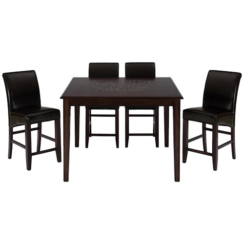 Jofran Baroque Brown 5-Piece Contemporary Square Counter Height Table & Bonded Leather Bar Stool Set