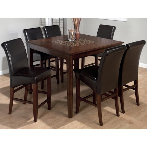 Jofran Baroque 7-Piece Contemporary Square Counter Height Table & Bonded Leather Bar Stool Set
