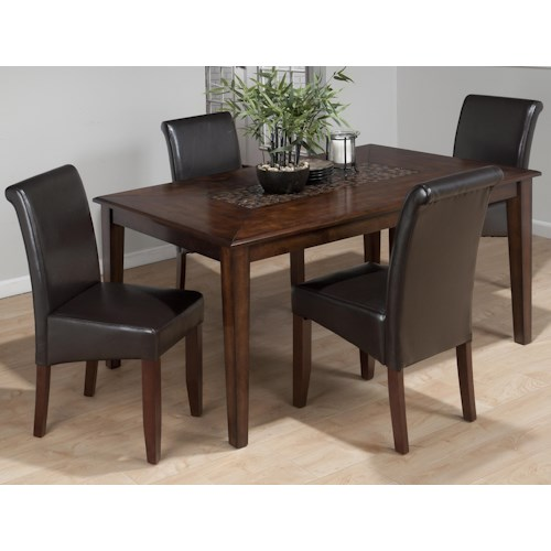Jofran Baroque Brown 5-Piece Contemporary Dining Table & Bonded Leather Side Chair Set