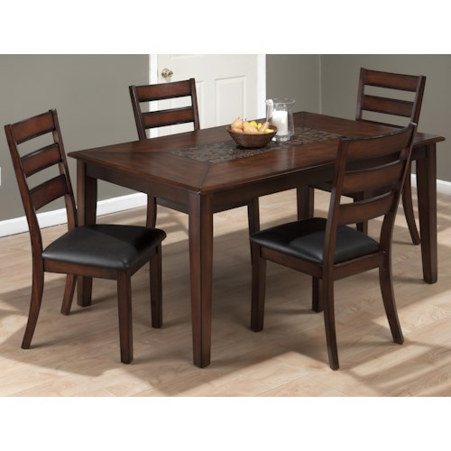 Jofran Baroque Rectangle Table and Slat Back Chair Set