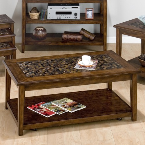 Jofran Baroque Brown Mosaic Tile Inlay Cocktail Table with Hidden Casters