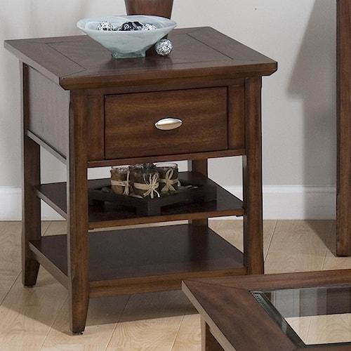 Jofran Bellingham Brown End Table w/ Drawer & 2 Shelves