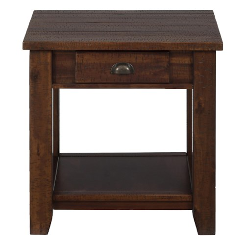 Morris Home Furnishings Pacific Lane Casual End Table with One Drawer and One Shelf