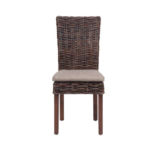 Jofran Urban Lodge Rattan Side Chair with Linen Seat and Block Legs