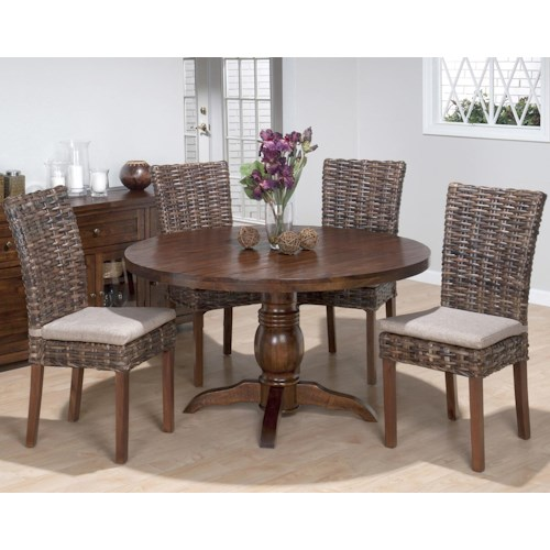 Jofran Urban Lodge 5 Piece Dining Set with Rattan Chairs and Pedestal Table