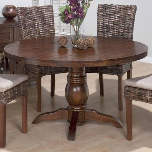 Jofran Urban Lodge Rustic Hewn Pedestal Table with Turned Pedestal