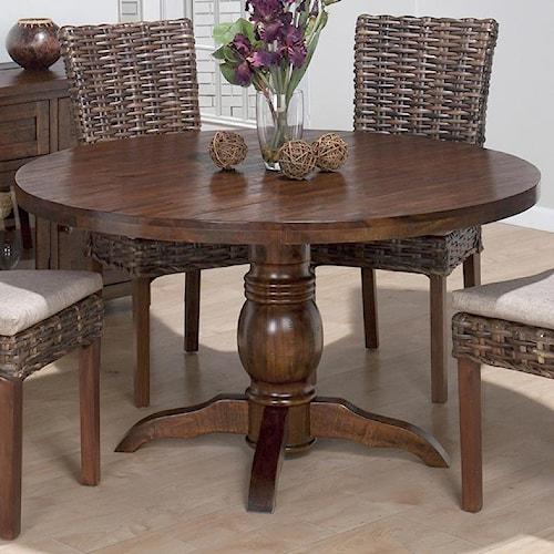Jofran Urban Lodge Rustic Hewn Pedestal Table with Turned Pedestal