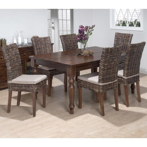 Jofran Urban Lodge 7 Piece Dining Set with Rattan Chairs and Rectangular Table