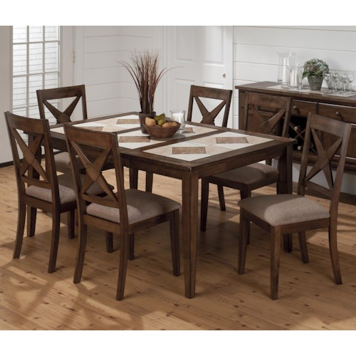 Jofran Tucson Brown  Tri-Color Tile Top Dining Table and Nova Chair Set
