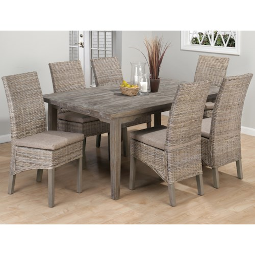 Jofran Burnt Grey Coastal 7 Piece Dining Set with Rattan Chairs