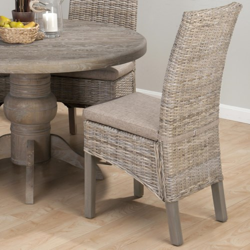 Jofran Burnt Grey Coastal Kubu Rattan Dining Side Chair with Oatmeal Linen Seat