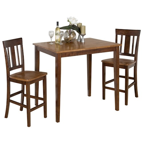 Jofran Kura Espresso and Canyon Gold Counter Height Table Set w/ 2 Counter Height Stools