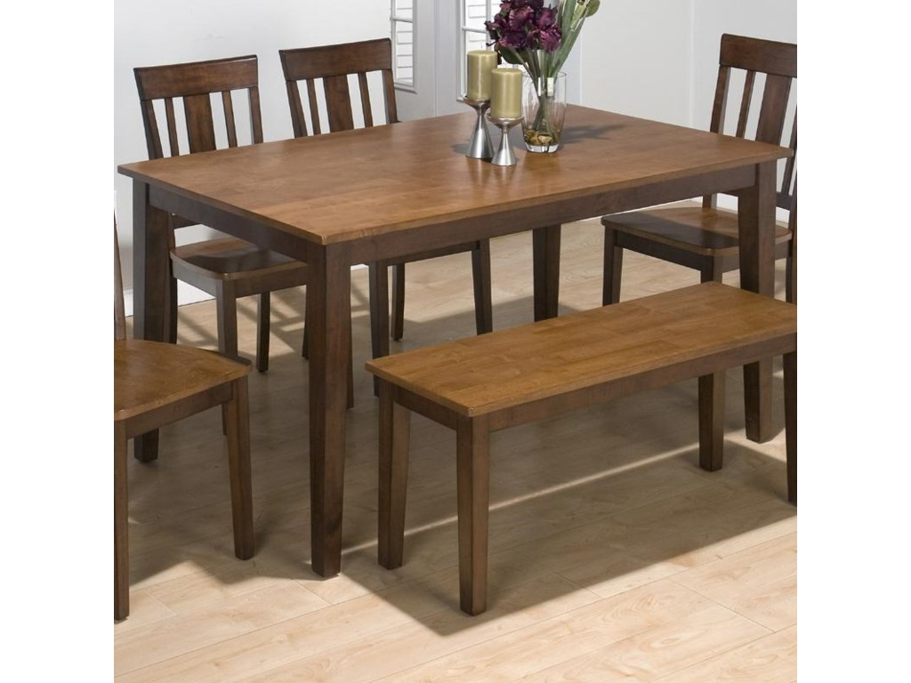 Rubberwood Kitchen Table Jofran Kura Espresso And Canyon Gold Solid Rubberwood Rectangle