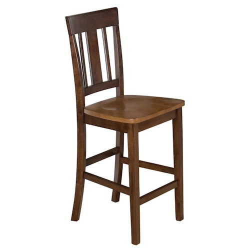 Jofran Kura Espresso and Canyon Gold Two-Tone Triple Upright Counter Height Stool