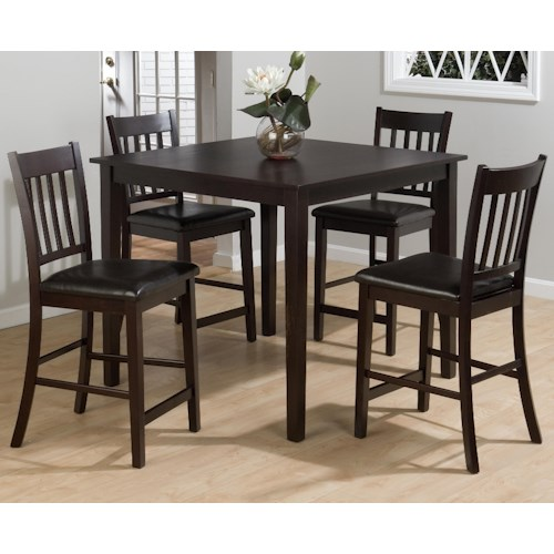 Jofran Marin County Merlot 5-Piece Counter Height Table & Counter Chair Set