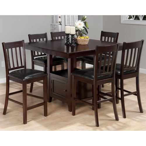 Jofran Tessa Chianti 7-Piece Casual Counter Height Square Table & 6 Bar Stools