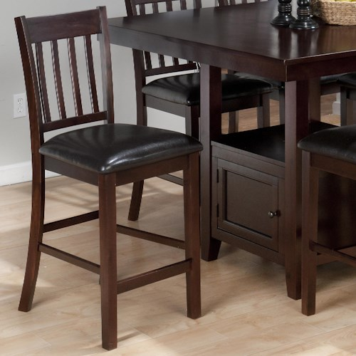 Jofran Tessa Chianti Casual 4-Slat Back Bar Stool with Faux Leather Seat Cushion