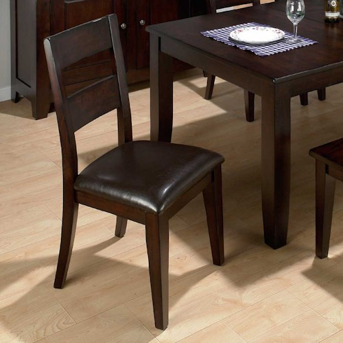 Jofran Dark Rustic Prairie Conventional Height One Rung Ladderback Dining Side Chair with Hand Hewn Edges and Chestnut Pu Vinyl Seat