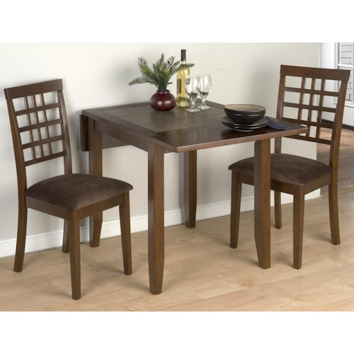 Jofran Caleb Brown Three Piece Drop-Leaf Table Set