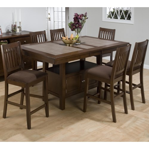 Jofran Chelsea Counter Height Table w/ 6 Bar Stools