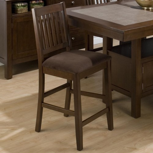 Jofran Caleb Brown Bar Stool w/ Microfiber Upholstered Seat