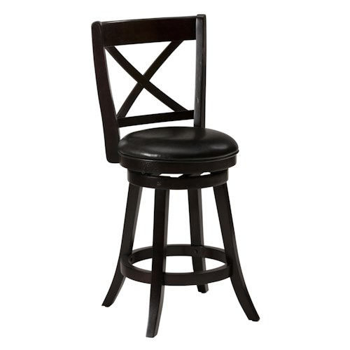 Jofran Aaron Pub X' Back Swivel Stool with Upholstered Seat