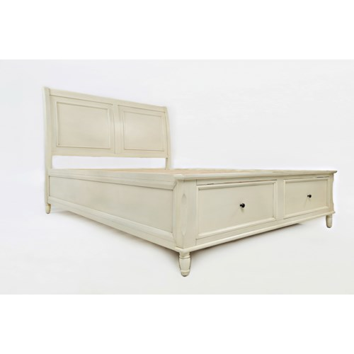 Jofran Emerson: Ivory Queen Storage Bed