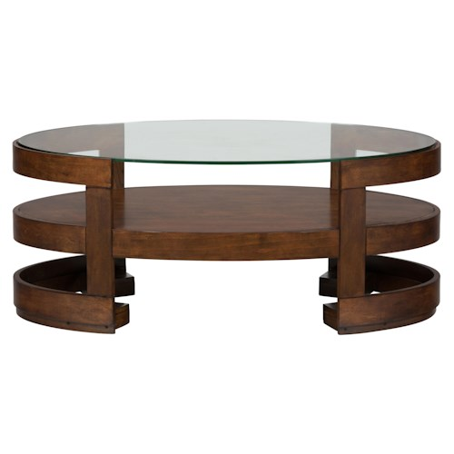 Jofran Avon Birch Oval Cocktail Table with Glass Top and Casters