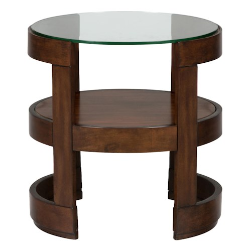 Jofran Avon Birch Round End Table with Glass Top and Shelf